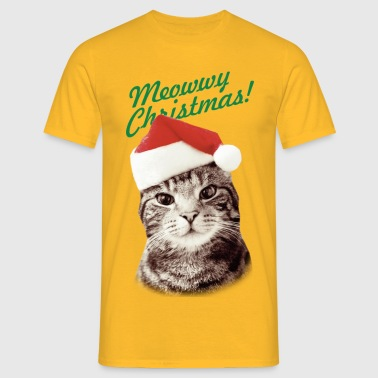 MEOWWY CHRISTMAS FUNNY KITTEN CAT  - Men's T-Shirt