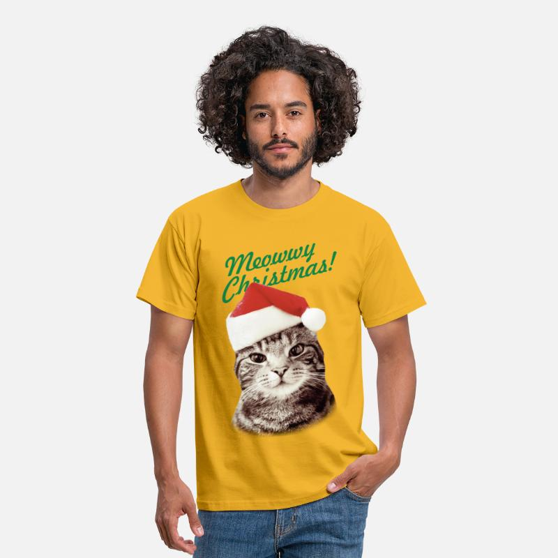 Christmas T-Shirts - MEOWWY CHRISTMAS FUNNY KITTEN CAT  - Men's T-Shirt yellow