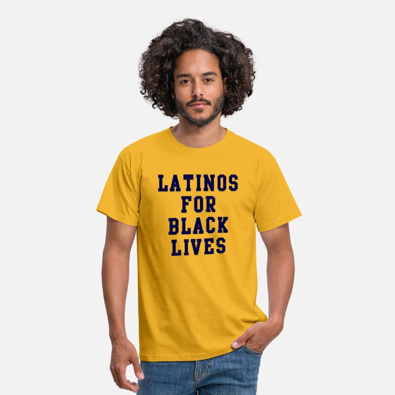 Blackjack T-Shirts - Latinos For Black Lives quote - Men's T-Shirt yellow