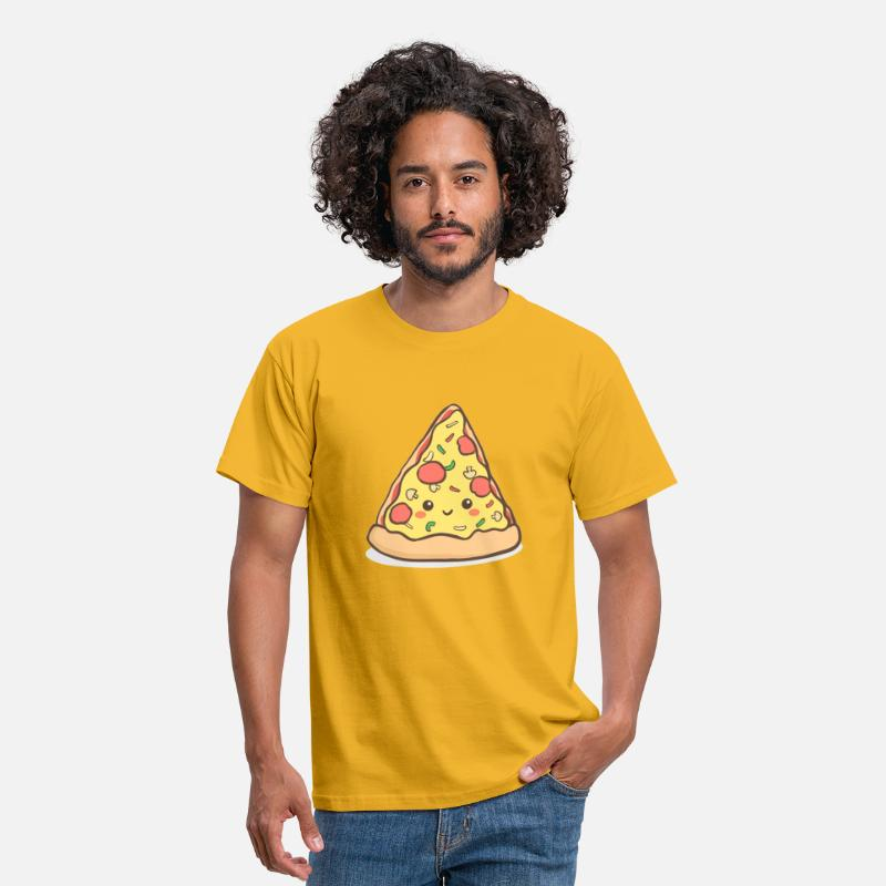 Pizza Camisetas - comidas chatarra pizza kawaii - Camiseta hombre amarillo