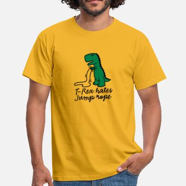 Funny Gym T-Rex hates jump rope - Men's T-Shirt