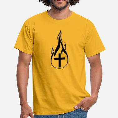 Fire Flame black fire flames hot burn burnt fack - Men's T-Shirt