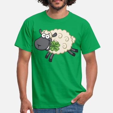 Lucky Happy sheep lamb with shamrock - Lucky sheep - Men's T-Shirt