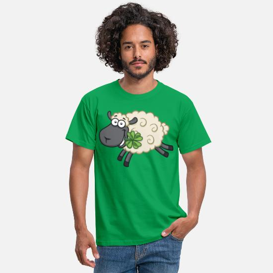 Lucky Charm T-Shirts - Happy sheep lamb with shamrock - Lucky sheep - Men's T-Shirt kelly green