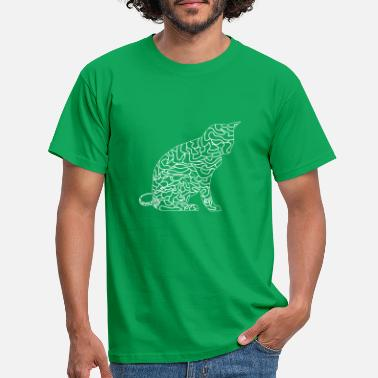 The elegance of the cat with the illustration with lines - Men's T-Shirt