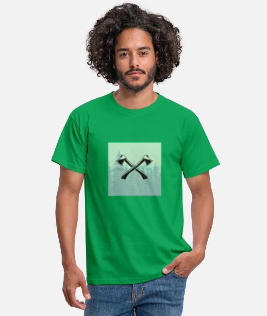 Beard T-Shirts - Hipster ax tattoo - Men's T-Shirt kelly green