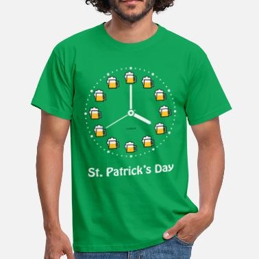 St. Patrick's Day (Saint Patrick Beer Clock W PNG) - T-shirt Homme