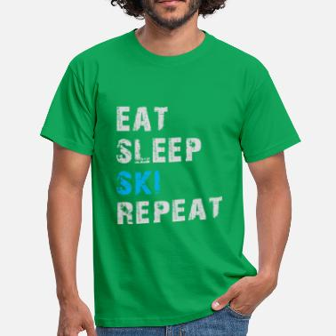 Eat Again Eat Sleep Ski Repeat - Eat Sleep Ski Again - Maglietta uomo