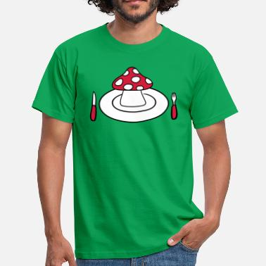 Midday plate cutlery knife fork midday mushroom flypil - Men's T-Shirt