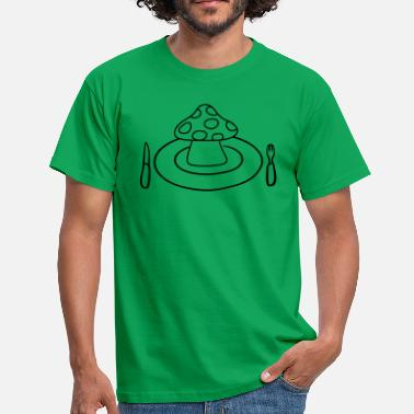 Midday cutlery plate knife fork midday mushroom flypil - Men's T-Shirt