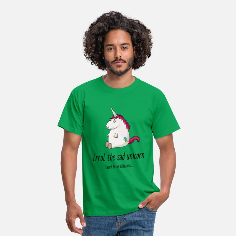 Overweight T-Shirts - Sad unicorn - Men's T-Shirt kelly green