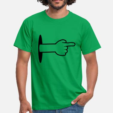 Pointing Left wall hole bottom arm hand cartoon show pointing - Men's T-Shirt