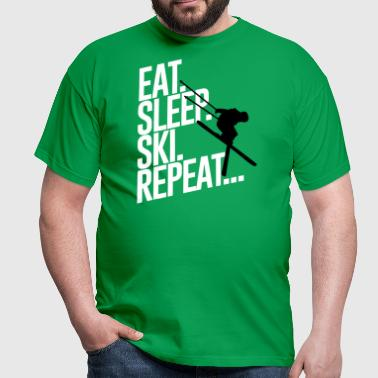 Eat sleep Ski repeat - Skiing-Urlaub-Winter-Schnee - Herre-T-shirt