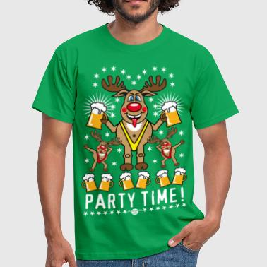 108 Hirsch Rudi Bier Party Time Rentier Rudolph  - Männer T-Shirt