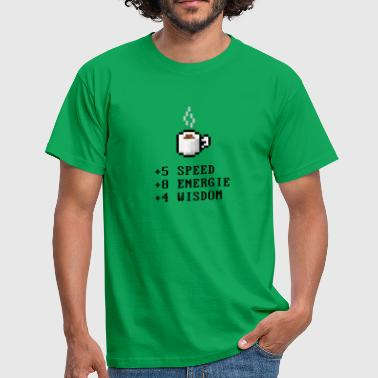 Pixel Coffee with Stats - Men's T-Shirt
