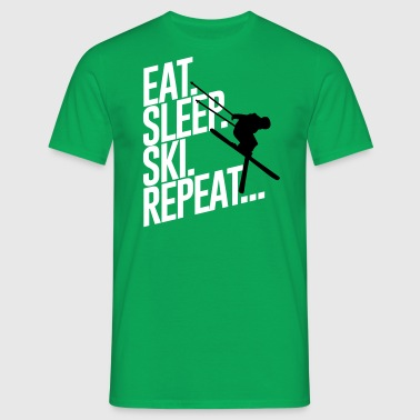 Eat sleep Ski repeat - Skiing-Urlaub-Winter-Schnee - T-shirt Homme