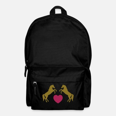 Pony Two wild horses with heart - this design lets you change all colours - Mochila