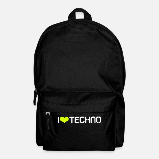 Love Bags & Backpacks - I Love Techno - Backpack black