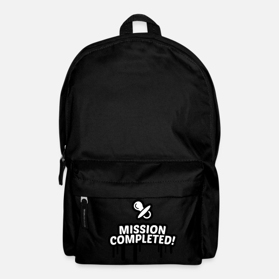 Birthday Bags & Backpacks - Baby accomplished mission, Mission completed 2c. - Backpack black