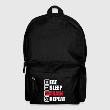 eat sleep train repeat bodybuilding gym  - Backpack