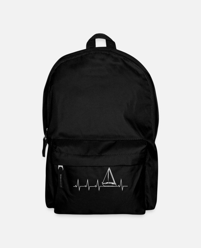 Water Bags & Backpacks - I love sailing - heartbeat - Backpack black