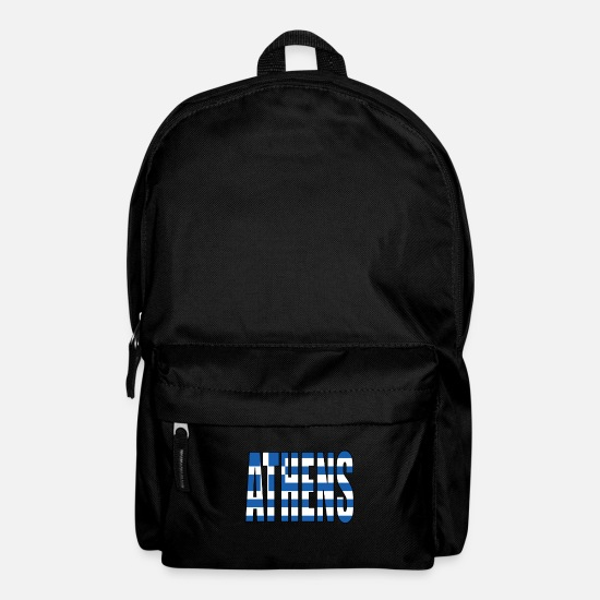 Greek Bags & Backpacks - Athens Greece Flag - Backpack black