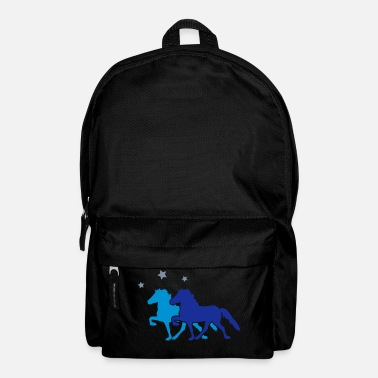 Pferde Two Horses with silver-metallic Stars - Rucksack