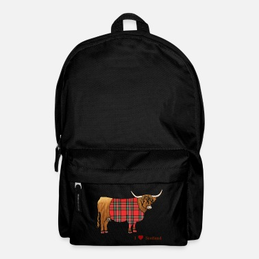 Cow Scottish Highland Cattle, Tartan, - Backpack