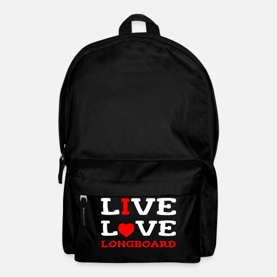 Longboard Bags & Backpacks - I Live Love Longboard Longboarding Longboarder - Backpack black
