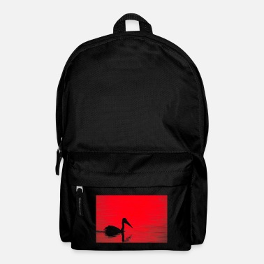 A pelican silhouette, red dawn - landscape - Backpack
