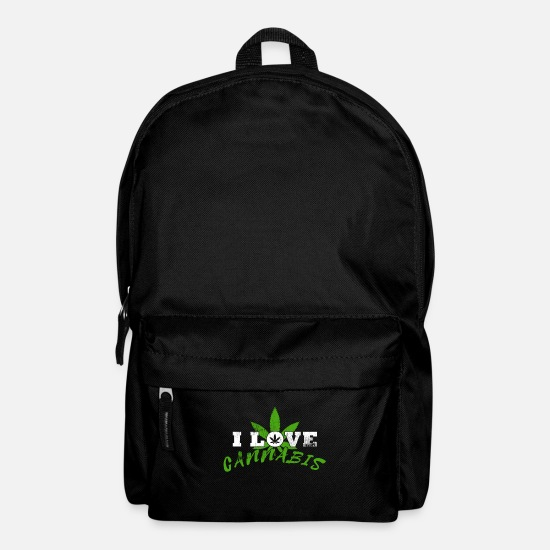 Hemp Bags & Backpacks - I love cannabis marijuana grass smoking smoking weed - Backpack black