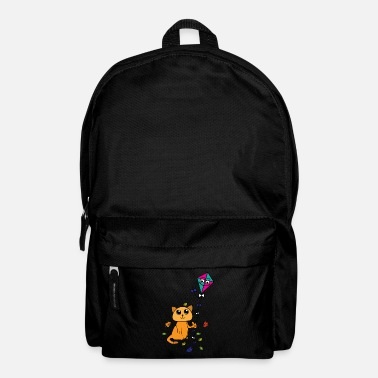 Tempest Cat is flying kite in spring, autumn - Backpack