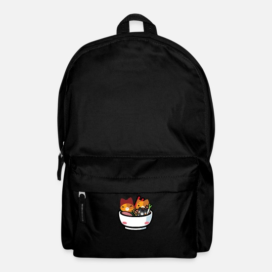 Soup Bags & Backpacks - Kawaii Anime Cat Shirt Japanese Ramen Noodles - Backpack black