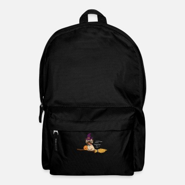 Carri Halloween Pug Witch On A Broom Dog Lover Gift - Backpack