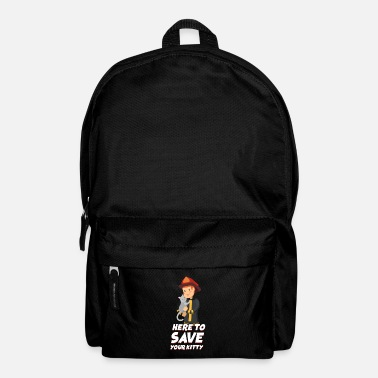 Fight Here To Save Your Kitty Kids Firefighter Thin Red - Backpack