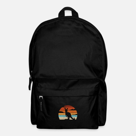 Aussie Bags & Backpacks - Retro Outback Sunset Naughty Marsupial Silhouette - Backpack black