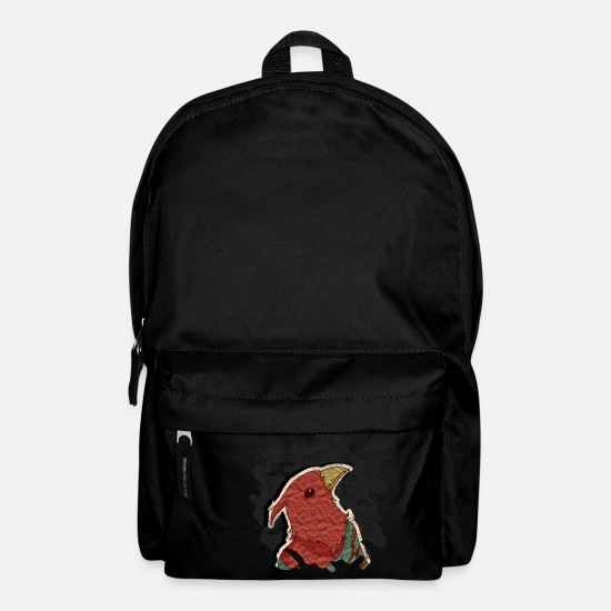 Newspaper Bags & Backpacks - Hipster bird mixed media digital art collage - Backpack black
