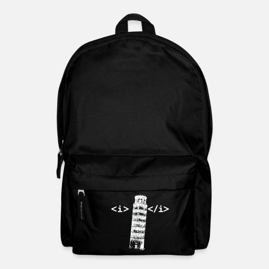 Pisa Bags & Backpacks - Funny HTML Italic Coding - Backpack black