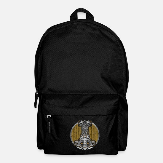 Hammer Bags & Backpacks - Thor hammer Mjolnir on the shield - Backpack black
