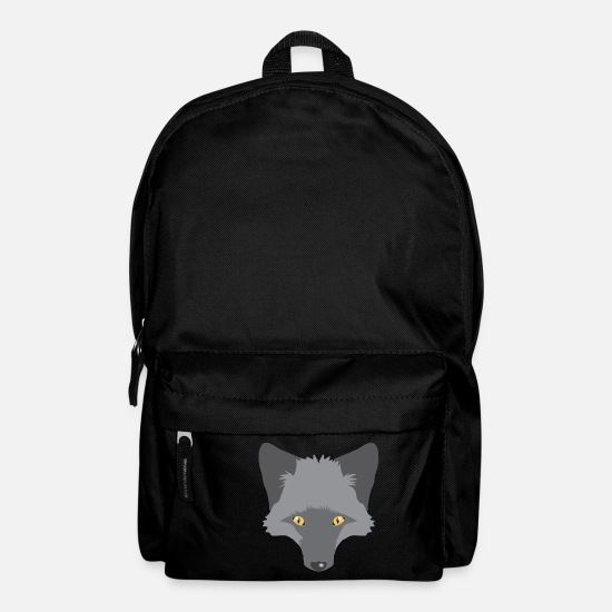Silver Bags & Backpacks - Elegant Silver fox face - Backpack black