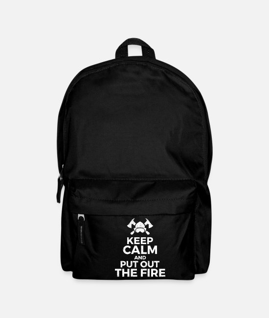 Fire Department Bags & Backpacks - Firefighter Keep Calm and Put Out Fire Gift - Backpack black