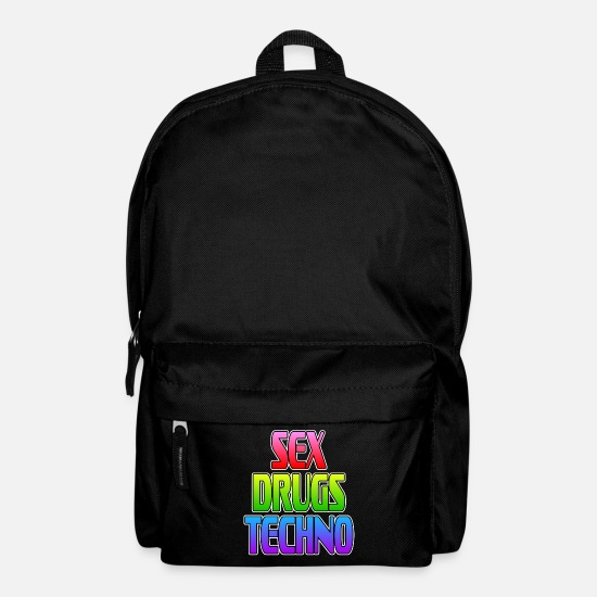 "Love Bags & Backpacks - ""Sex Drugs Techno"" tee design. Colorful and - Backpack black"
