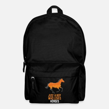 Love Just A Boy Who Loves Horses Horse Riding Boy - Backpack