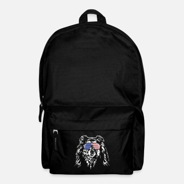 Long-haired Long-haired Herd Dog Long haired COLLIE America flag Wilsigns dogs - Backpack