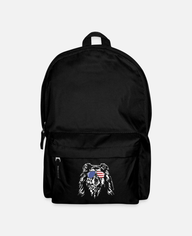 Obedience Bags & Backpacks - Long haired COLLIE America flag Wilsigns dogs - Backpack black