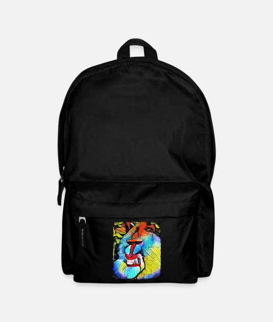 Space Bags & Backpacks - Angry artistic monkey Mandrill - Monkey - Backpack black