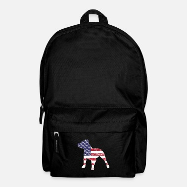Staff Patriotic Pitbull, American Flag - Backpack