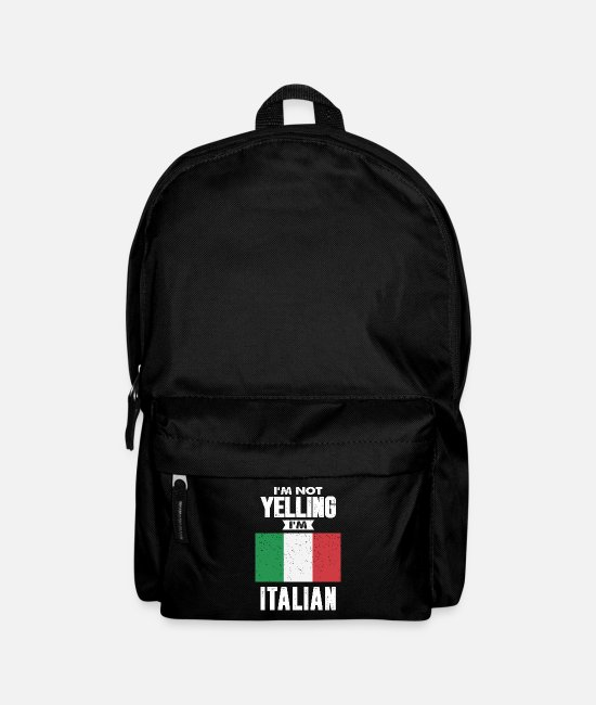 Italian Flag Bags & Backpacks - I'm Not Yelling I'm Italian - Backpack black