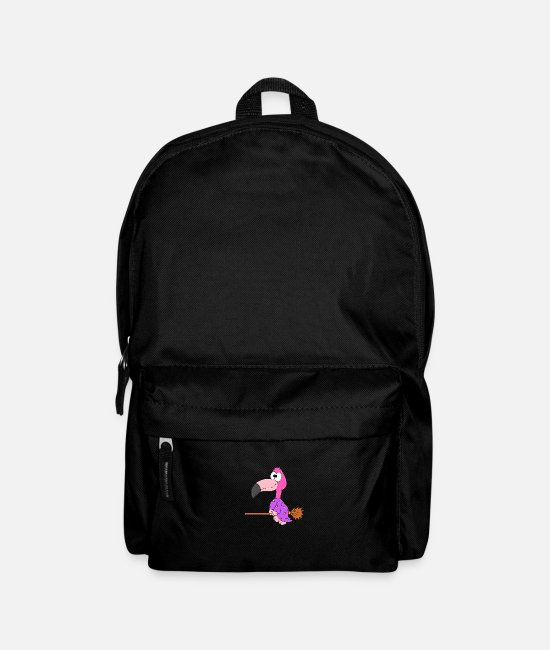 Flamingo Bags & Backpacks - Funny flamingo - witch - child - baby - animal - Backpack black