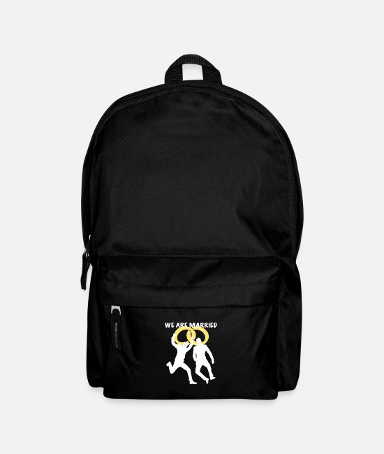 Engagement Bags & Backpacks - We are married two man white - Backpack black